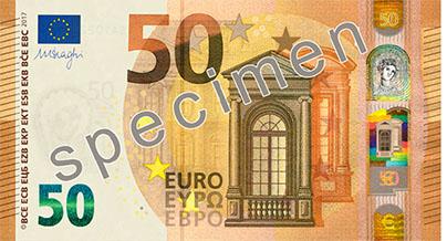 Neuer 50-Eurogeldschein maße und Gewicht