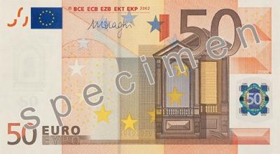 50 Eurobanknoten Abmessung und Gewicht