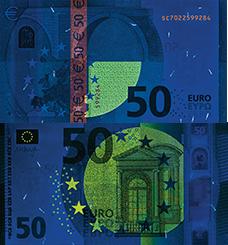 Neuer 50 Euro Schein unter UV Licht